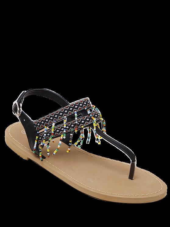 Sandales à Imprimé Géométriques à Franges Décoratives - Noir 39
