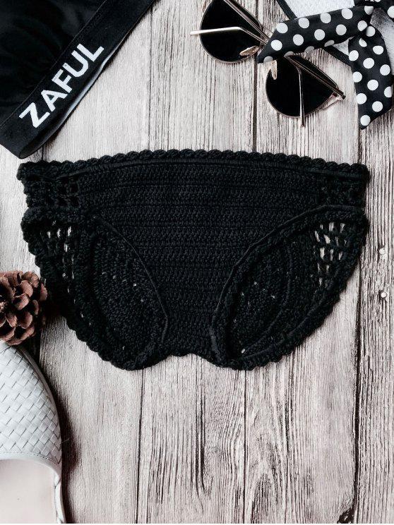 Bikini de ganchillo de bajo cintura - Negro Única Talla