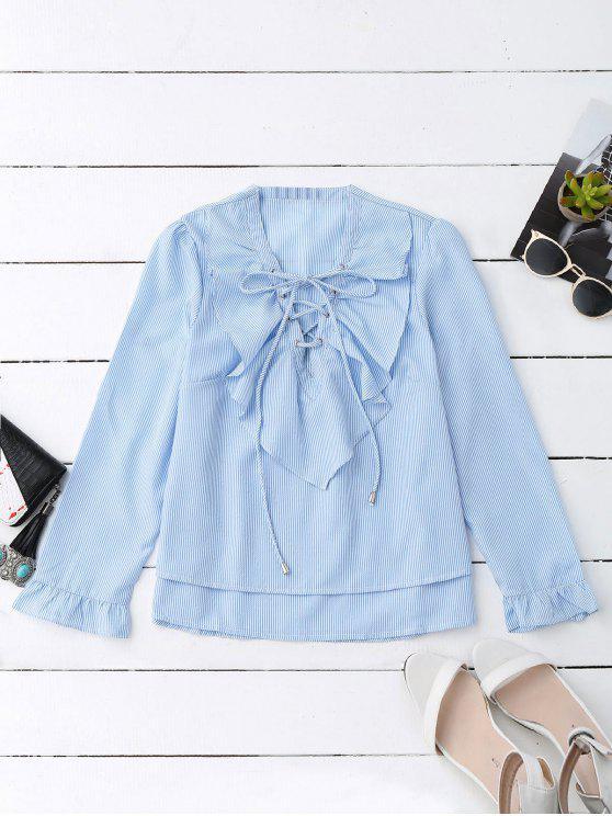 women Lace Up Ruffle Poplin Blouse - BLUE AND WHITE L