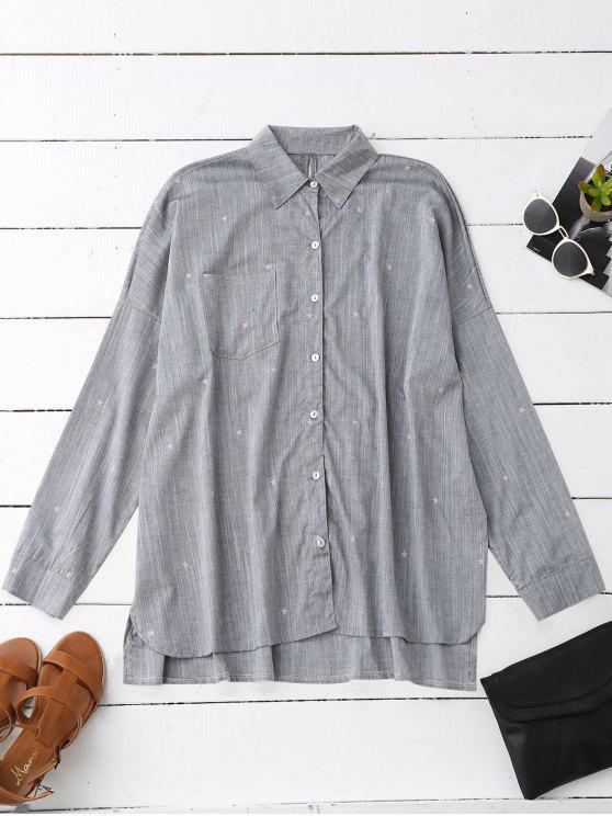 Camisa Tamanho Grande com Bolsos e Estampa de Estrelas - Cinzento M