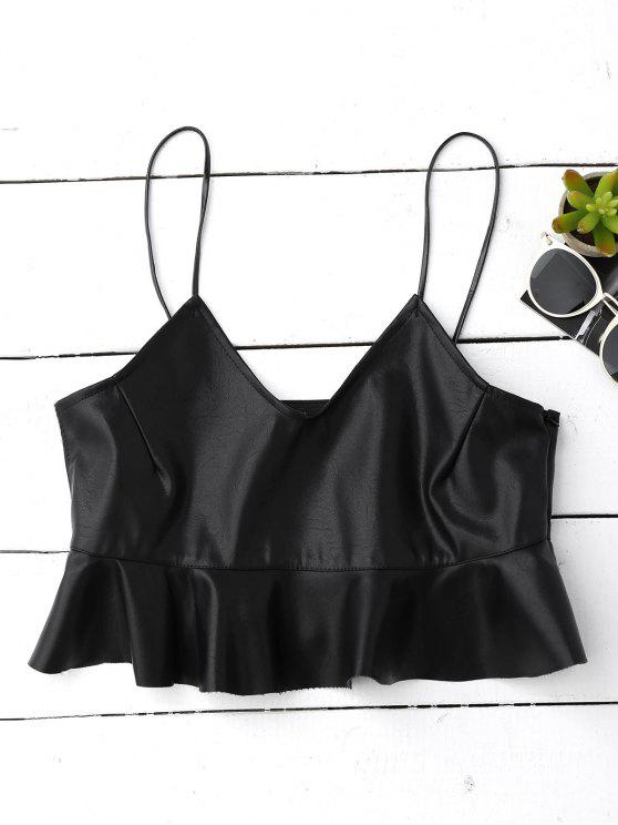 online Ruffle Faux Leather Cami Top - BLACK M