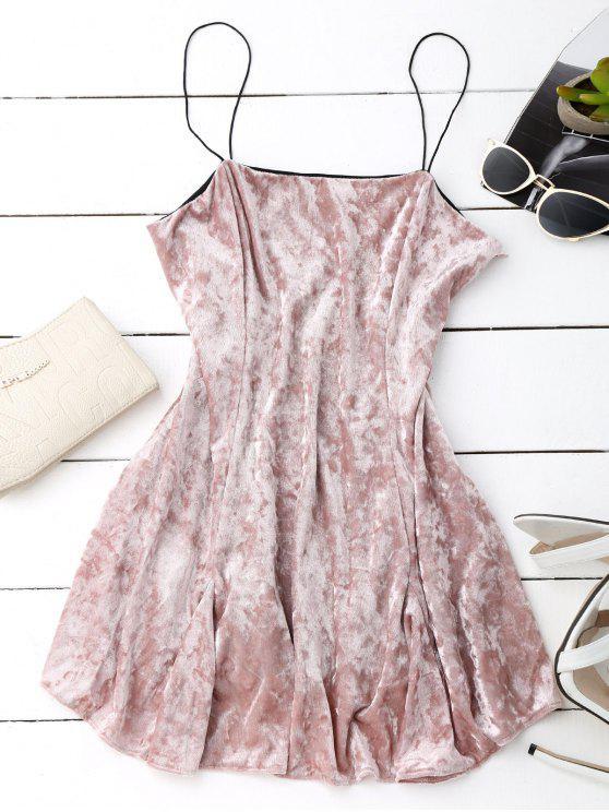 chic Velvet Mini Cami Skater Dress - PINK S