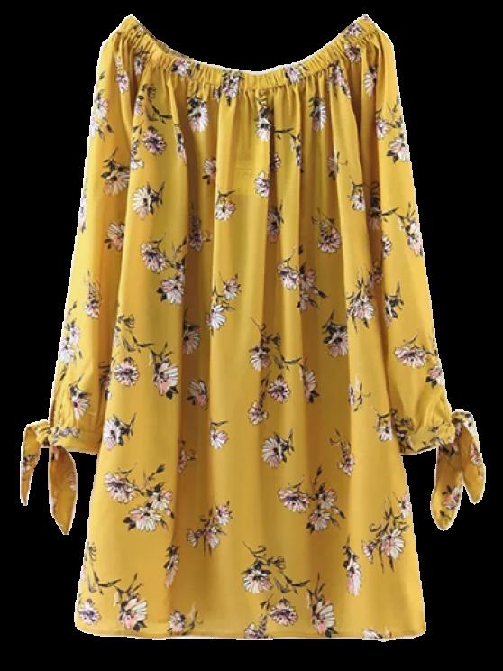 Vestido Recto de Flores con Hombros al Aire - Amarillo L