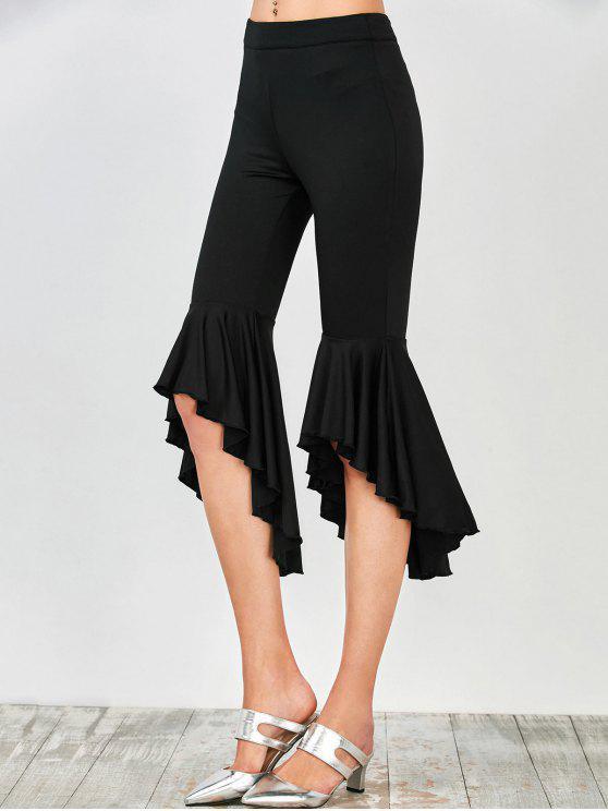 unique Asymmetrical Ruffles Flare Pants - BLACK S