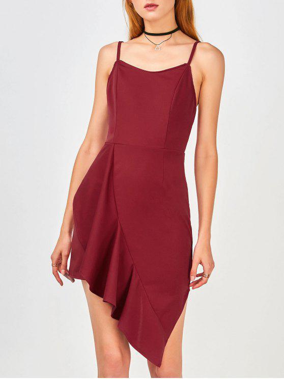 Ruffles Asymmetrical Bodycon Dress - Vino Rojo 2XL