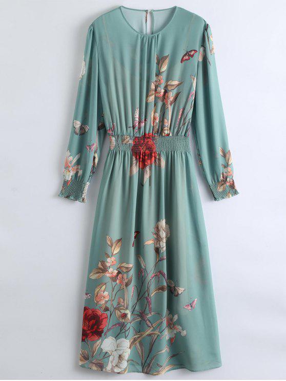 Maxi Vestido Trasparente de Flores con Vestido de Tirantes Finos - Guisante Verde S