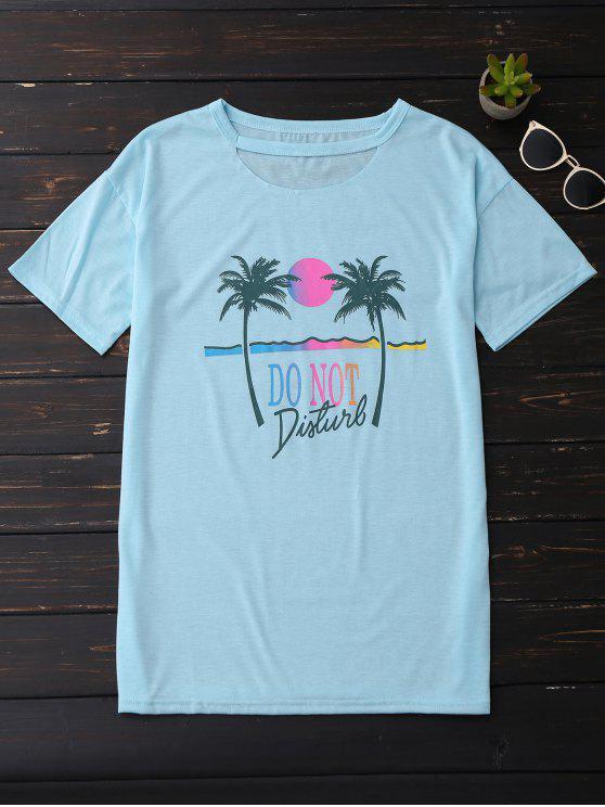 El gráfico de la impresión de la palmera cortó tee shirt - Cielo Azul M
