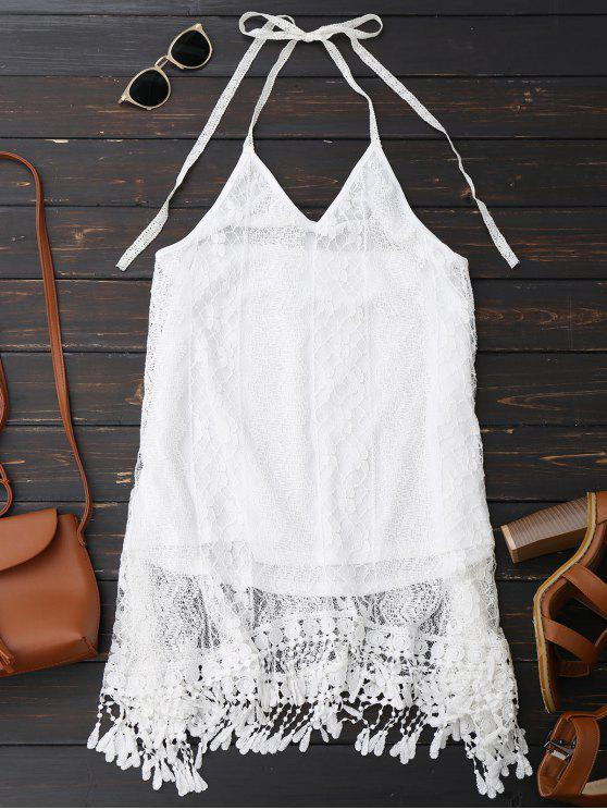 unique Halter Lace Fringed Backless Dress - WHITE M