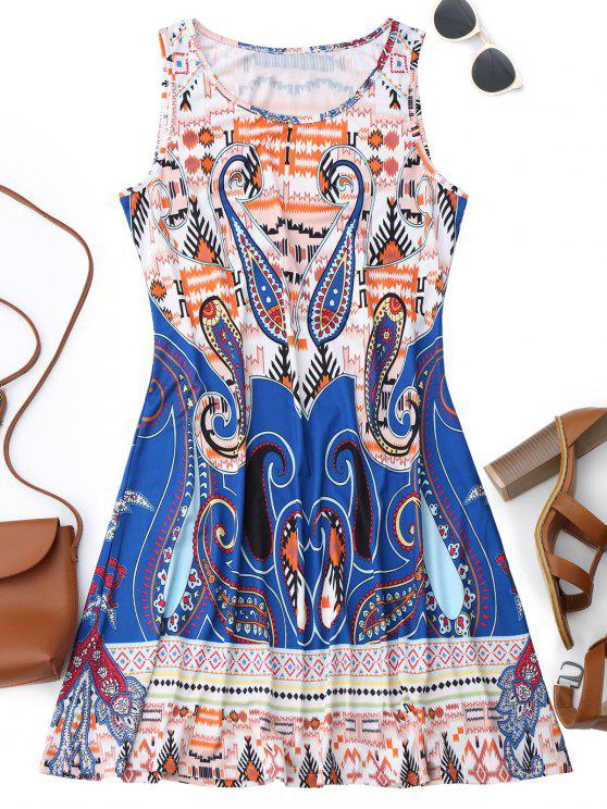 best Sleeveless Graphic Print Flowy Dress - COLORMIX S