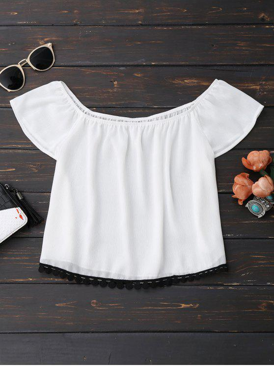 best Off Shoulder Chiffon Cropped Top - WHITE L