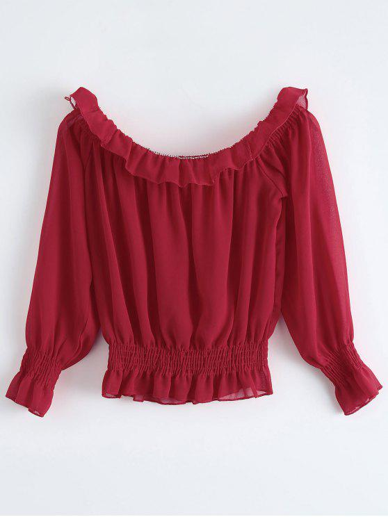 women's Chiffon Off Shoulder Puff Sleeve Blouse - RED ONE SIZE