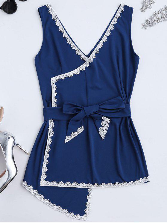 women Sleeveless Lace Panel Wrap Dress - BLUE ONE SIZE(FIT SIZE XS TO M)