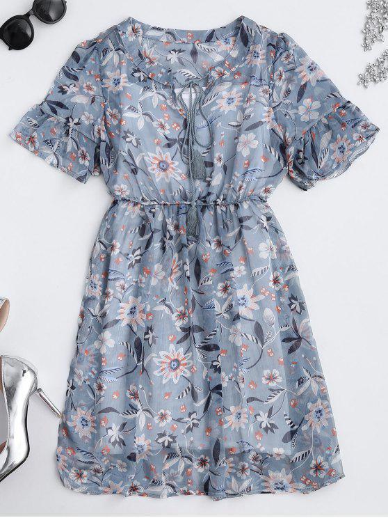 Sheer Kleid mit Blumen , Krawatte am Ausschnitt und Tank Top - Blumen S