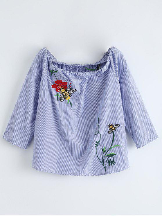 sale Off Shulder Bee Floral Striped Blouse - BLUE STRIPE M