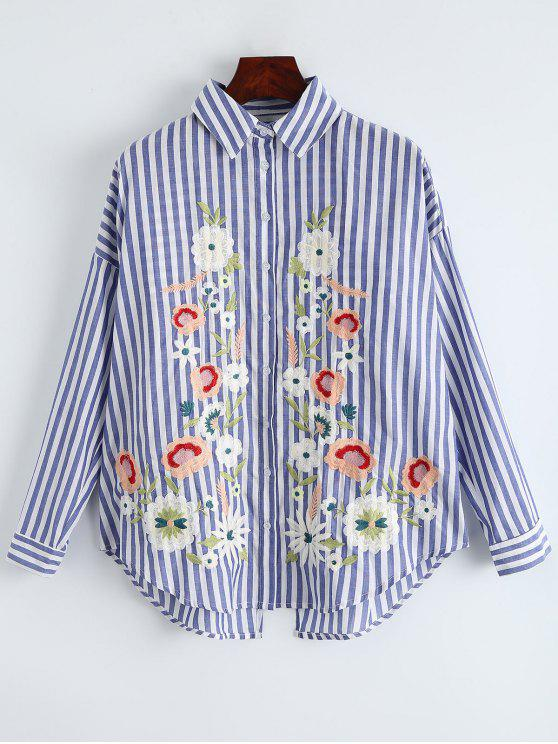 womens Oversized Floral Embroidered Striped Shirt - BLUE STRIPE M