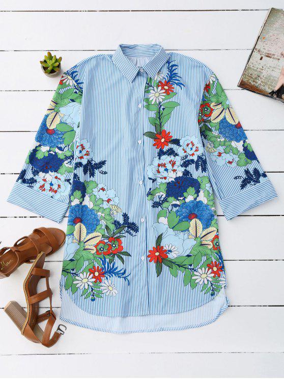 Camiseta rayada floral de la túnica del novio - Raya M