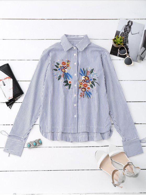 Camisa rayada bordada floral de alto bajo - Raya M