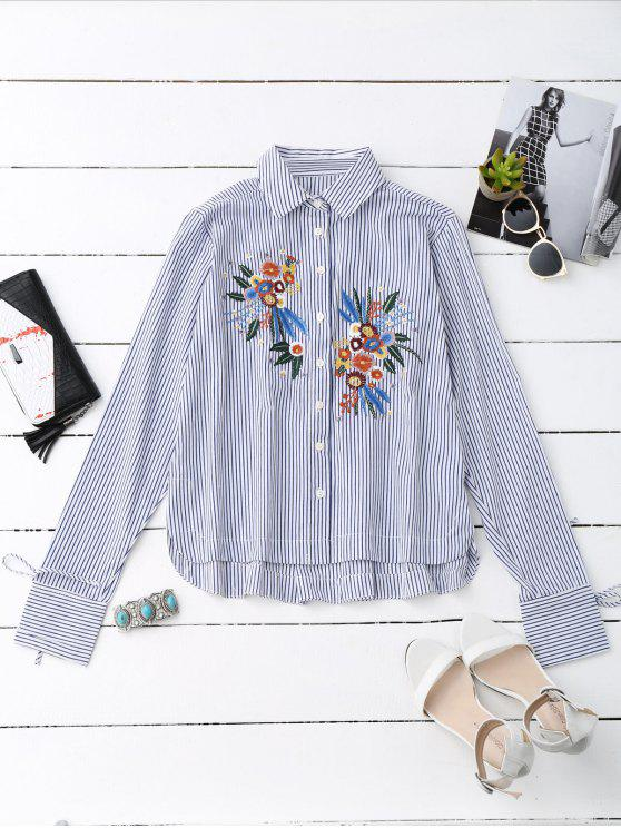 outfits High Low Floral Embroidered Striped Shirt - STRIPE S