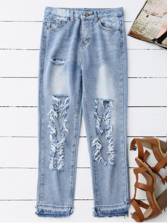 جينز مهترئ مقصر - الضوء الأزرق S