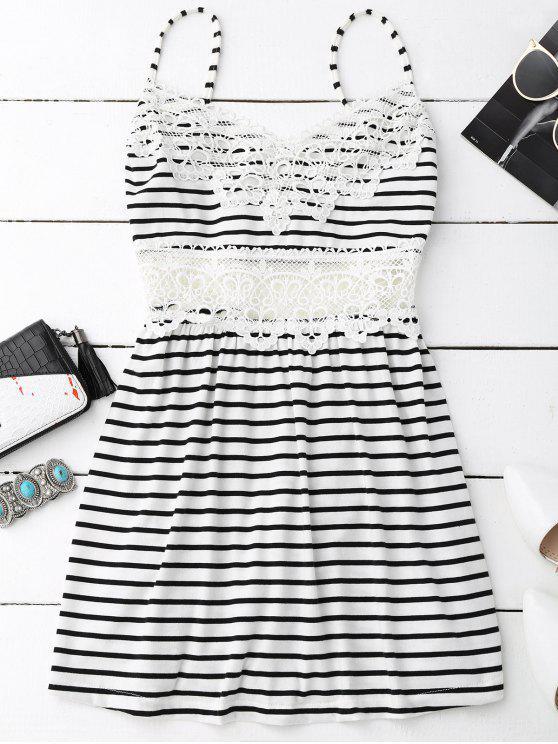 women Crochet Trim Flared Cami Dress - WHITE AND BLACK M