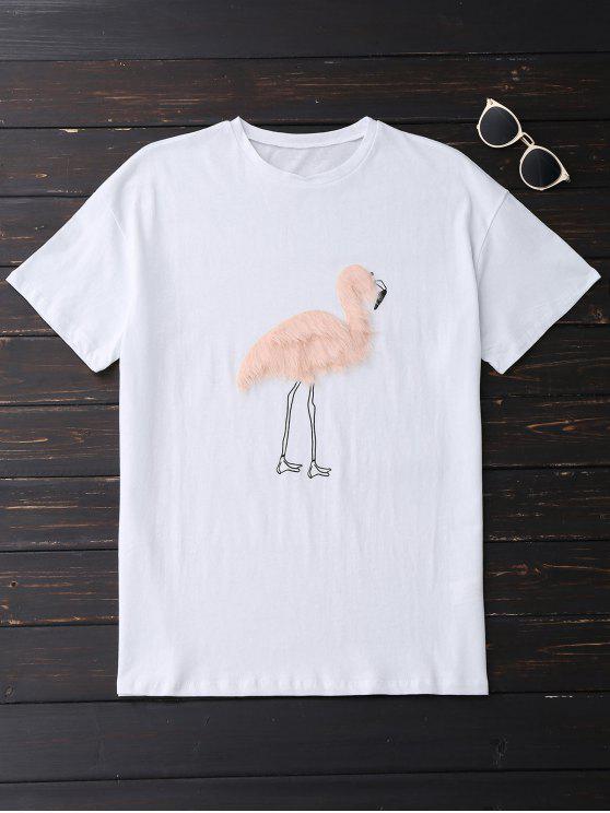 best Faux Fur Bird Oversized Tee - WHITE L