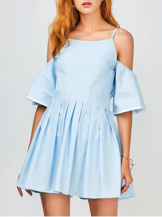 Vestido de Tirante Fino con Volantes Fuera del Hombro - Azul Claro L