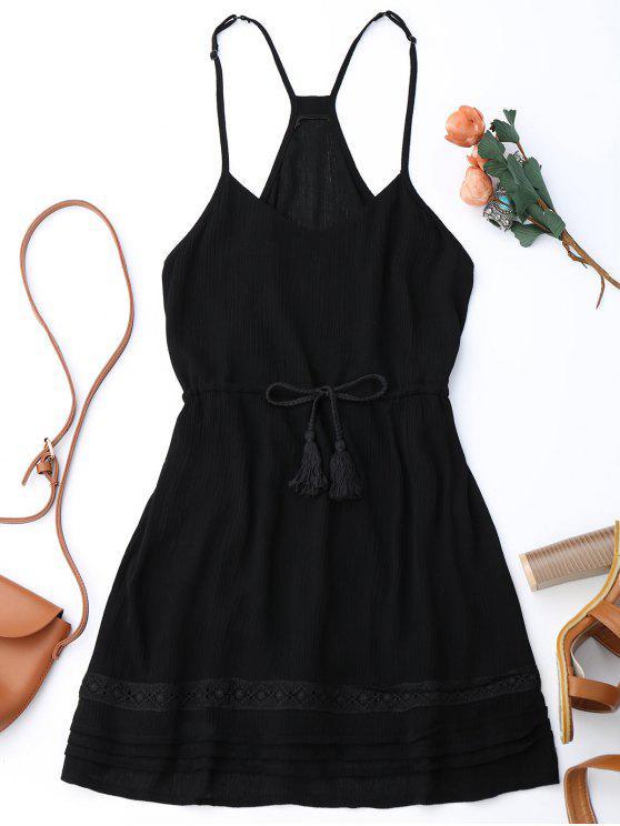 ladies Spaghetti Straps Drawstring Waist Summer Dress - BLACK M