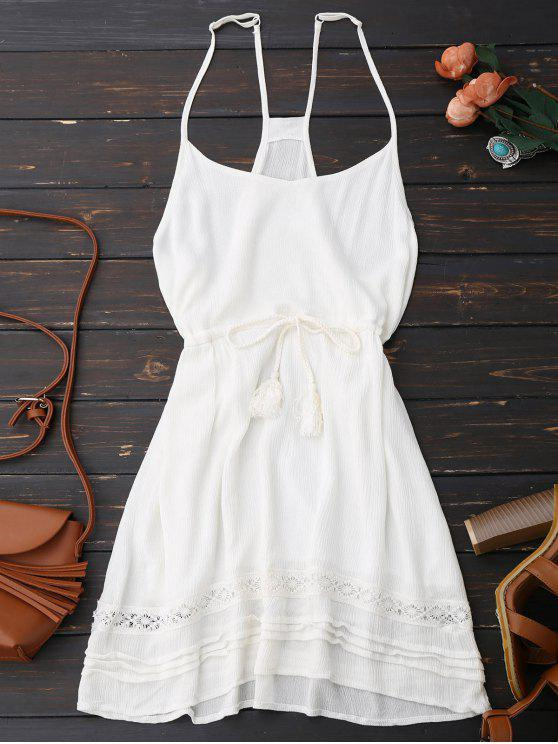sale Spaghetti Straps Drawstring Waist Summer Dress - WHITE S