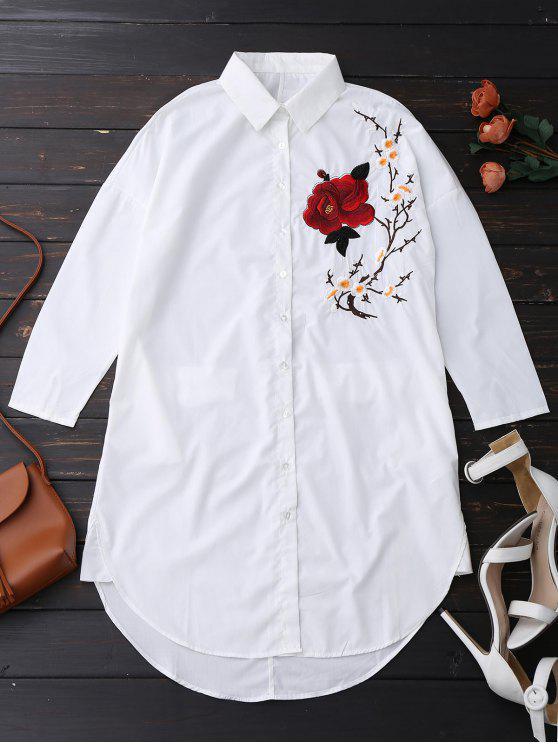 Camiseta floral bordada de la túnica - Blanco M