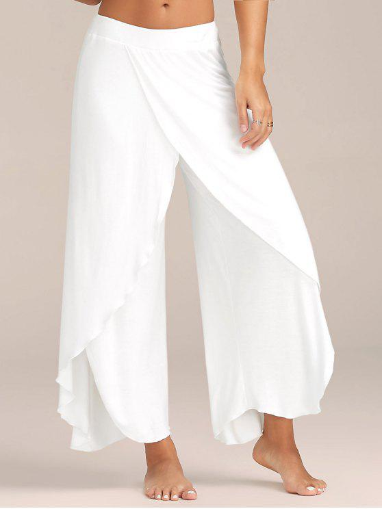 High Slit Flowy Layered Perna Larga Calças - Branco L