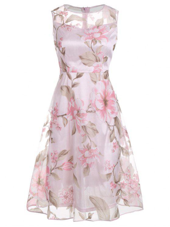 Robe Mi-longue à Imprimé Floral Sans Manches - ROSE PÂLE M