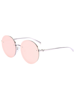 Reflective Anti UV Mirrored Metal Round Sunglasses - Silver Frame + Red Mercury Lens
