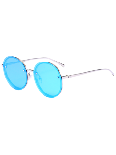Reflective Anti UV Mirrored Metal Round Sunglasses - Sliver Frame+blue Lens C9