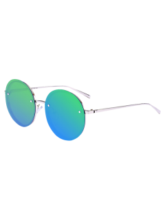 Reflective Anti UV Mirrored Metal Round Sunglasses - Blue Green
