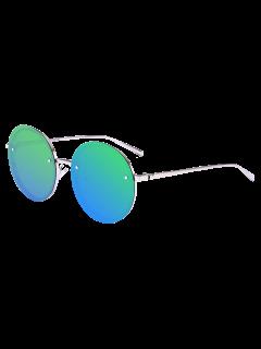 Gafas De Sol Reflectantes Anti UV Espejo De Metal Redondo - Azul Verde