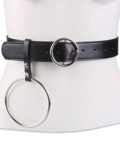 Round Metal Pin Buckle Circle Leather Waist Belt - Black