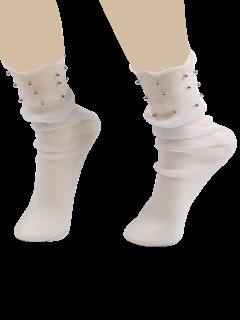 Beaded Lurex Yarn Fishnet Crew Socks - White