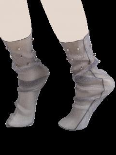Beaded Lurex Yarn Fishnet Crew Socks - Gray
