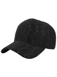 Argyle Lace Curving Brim Baseball Hat - Black