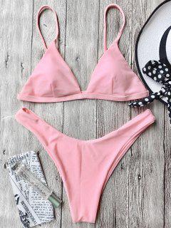 Cami Soft Pad Thong Bikini Set - Pink S