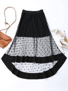 High Low Star Mesh Skirt - Black