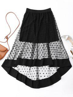High Low Swiss Dot Mesh Skirt - Black