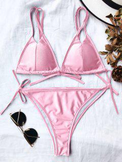 Double Straps Padded High Cut Bikini Set - Pink L