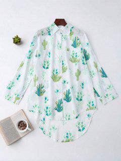High Low Cactus Print Shirt Loungewear - White L