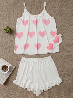 Heart Pattern Cami Top With Ruffles Shorts - White S