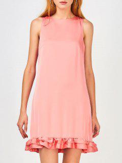 Back Zippered Ruffles Casual Dress - Pink M