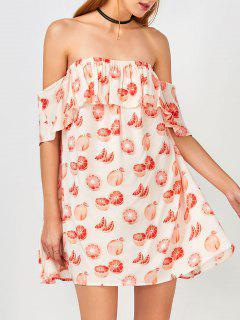 Friut Print Off The Shoulder Casual Dress - Floral M