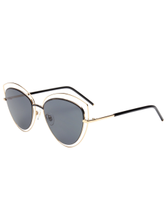 Cat Eye Hollow Out Frame Wide Sunglasses - Gold Frame + Black Lens