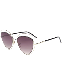 Cat Eye Hollow Out Frame Wide Sunglasses - Silver Frame+dark Brown Lens