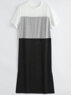 Color Block Slit Shift T-Shirt Dress - Black Xl